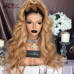 WICCAWIGS Customized Ombre Human Hair lace Front Wig Pre Plucked 1B/27 Honey Blonde Wavy Remy Hair Brazilian Lace Wigs With Baby Hair