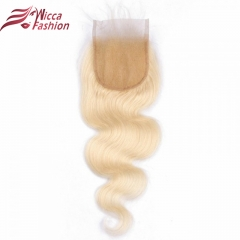 Brazilian Straight 4x4 Lace Closure #613 Color 100% Remy Human Hair Full Blonde Closures With Baby Hair