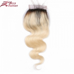 Body Wave Lace Closure 1b/613 Color Brazilian Remy Human Hair  With Baby Hair