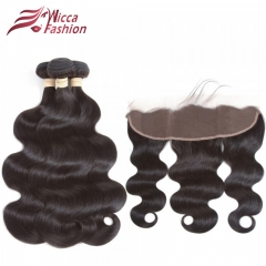 Body Wave Hair Bundles With Lace Frontal 13*4 Human Hair 3/4 Bundles With Frontal