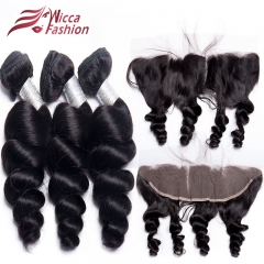 Loose Wave Hair Bundles With Lace Frontal 13*4 Human Hair 3/4 Bundles With Frontal