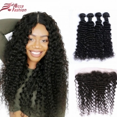 Deep Wave Brazilian Hair  4 Bundles with 13*4  Lace Frontal Free Part