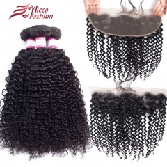 Kinky Curly Hair Bundles With Lace Frontal 13*4 Human Hair 3/4 Bundles With Frontal