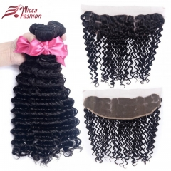 10A Deep Wave Brazilian Hair Weave 3 Bundles with 13*4  Lace Frontal Free Part