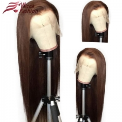 Wiccawigs #4 Color Silk Straight Human Hair Lace Front  Wigs with Baby Hair Pre-Plucked