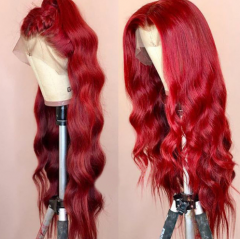 Wiccawigs Customized Red Color Glueless Lace Front Wigs Brazilian Remy Human Hair Full Lace Wigs with Baby Hair Pre Plucked Hairline
