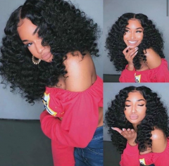 Wiccawigs Customized Curly Lace Frontal Wigs with Baby Hair Pre-Plucked Hairline