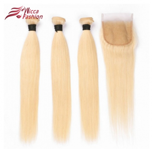 Pure 613 Color Human Hair Wefts 3 Bundles with 4*4 Lace Closure