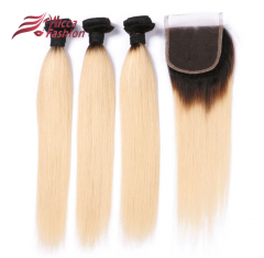 1B/ 613 Color Human Hair Wefts 3 Bundles with 4*4 Lace Closure