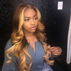Wiccawigs Customized Full Lace Wigs Brazilian Virgin Ombre Wave  Lace Front Wigs With Baby Hair Pre-plucked Hairline