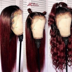 Wiccawigs Customized 1B/Burgundy Human Hair Lace Frontal Wigs with Baby Hair Pre-Plucked