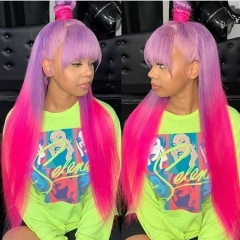 Wiccawigs Customized Ombre Colorful Long Silk Straight  Glueless Lace Wigs