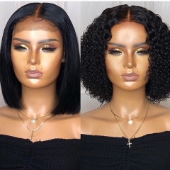 Wiccawigs Customized Short Bob Wig Human Hair Lace Frontal Wigs with Baby Hair Pre-Plucked Hairline
