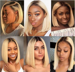 Wiccawigs Customized 1B/613 Color Short Bob Virgin Human Hair Lace Front Wigs With Baby Hair  Bleached Knots