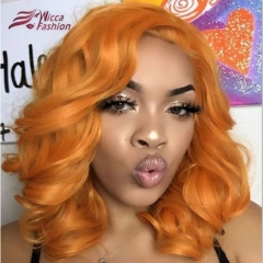 Wiccawigs Customized Brazilian Wave Orange  Color Short Bob Glueless Lace Wigs