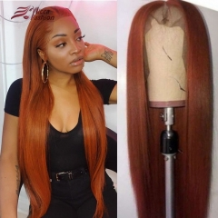 Wiccawigs Customized Dark Orange Color Peruvian Virgin Human hair Lace  Wigs With Baby Hair