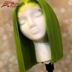 Wiccawigs Customized Green  Color Lace Frontal Bob Wigs Brazilian Remy Hair With Baby Hair Full Lace Wigs Pre Plucked Hairline