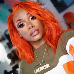 Wiccawigs Customized Short Bob Hair Orange Color Glueless Lace Front Wigs With Baby Hair Pre Plucked