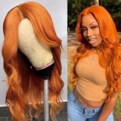 Wiccawigs Customized Orange Color Brazilian Wave Full Lace Wigs With Baby Hair Pre Plucked