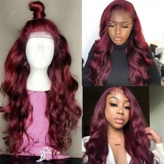 Wiccawigs Customized 99J Color Lace Front Wigs Glueless Full  Lace Wigs With Baby Hair Pre Plucked Hairline