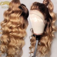 Lace Front T4/27 Color Loose Wave Brazilian Remy Hair Glueless Wiccawigs Customized Wigs With Baby Hair Pre-plucked