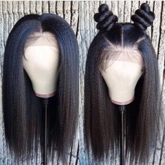 Wiccawigs Customized Kinky Straight  Lace Front Wigs Brazilian Virgin Human Hair Full Lace  Wigs With Baby Hair Pre Plucked Hairline