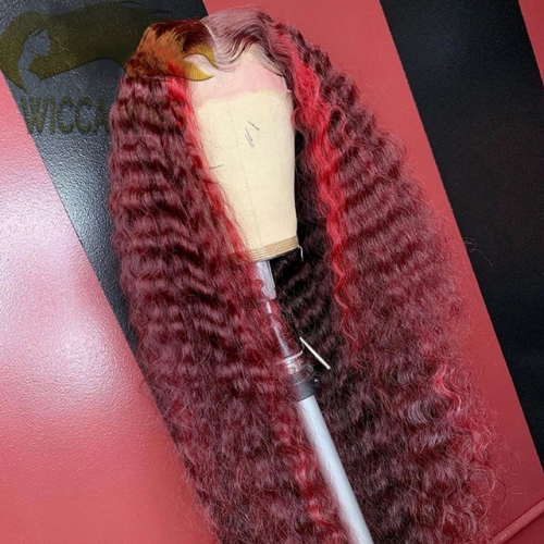 Lace Front Curly 99J with Red Highlights Wiccawigs Customized Wigs With Baby Hair Full Lace Wigs Pre Plucked Hairline