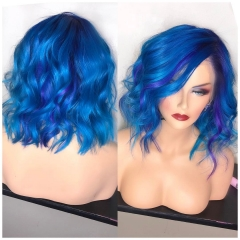 Wiccawigs Customized Blue Color Short Bob Wave Glueless Lace Wigs