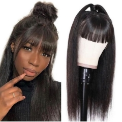 Wiccawigs Customized Full Lace Wigs Brazilian Virgin Straight Human Hair Wigs with Bangs Lace Front Wigs with Baby Hair Pre Plucked Hairline