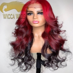 Wiccawigs Customized Body Wave Ombre Red Color Human Virgin Hair Full Lace Wigs with Baby Hair Pre Plucked Hairline