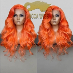 Wiccawigs Customized Orange Color Human Virgin Hair Full Lace Wigs with Baby Hair Pre Plucked Hairline