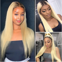 #4/613 Straight Blonde Full Lace Wigs With Baby Hair Brazilian Remy Glueless Lace Front Wigs Pre Plucked Hairline