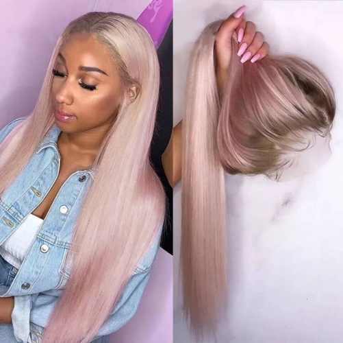Lace Front Human Virgin Hair Ombre #4/Pink Wiccawigs Customized Full Lace Wigs with Baby Hair Pre Plucked Hairline