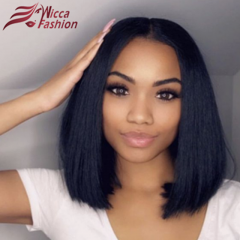 Wiccawigs Customized Short Bob Lace Front 130% Density Human Hair Wigs Brazilian Hair Straight Lace Front Wig With Pre Plucked Hairline