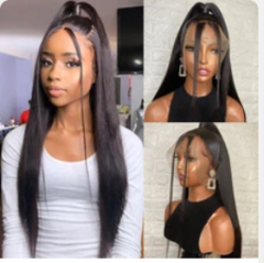 Wiccawigs Customized Brazilian Straight Human Hair Lace Front 130% Density Wig Plucked with Baby Hair